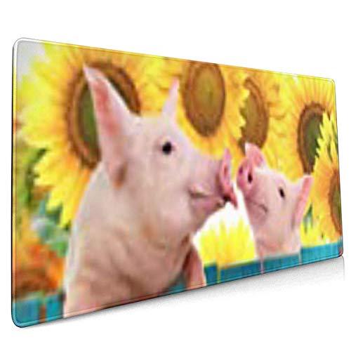 Multifunktions-Gaming-Mauspad, Computertastatur-Mauspads - Rosa niedliches lustiges Schwein, das auf Zaun-Studio-Farm-Sonnenblumen-Landwirtschaft hängt