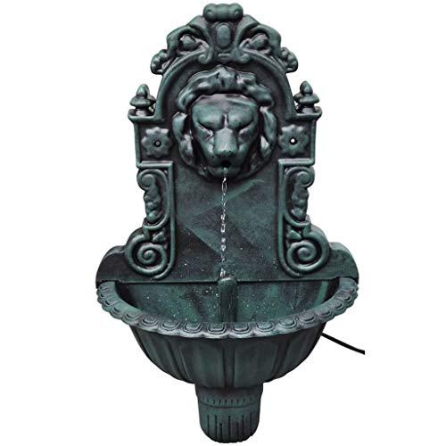 vidaXL Fuente de Pared Cabeza de León Fuente de Agua Decoración Interior Verde