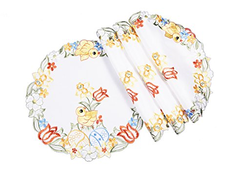 Xia Home Fashions Spring Chicks Embroidered Cutwork Round Easter Doilies, 12-Inch, Set of 4