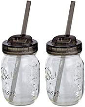 product image for 2 Ball Glass Mason Drinking Jars with 2 Sip and Straw Lids (2, 16oz) Regular Mouth