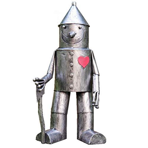 41cm Tall 'Tin Man & His Heart' Metal Garden Sculpture with Axe Small