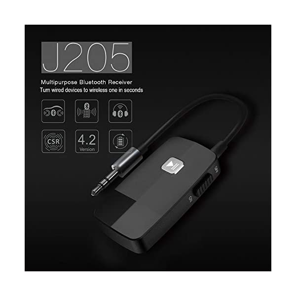 Bluetooth 4.2 Receiver for Home Stereo, Wireless Audio Adapter with 3.5mm or RCA Aux Jack for Car Speaker, HIFI Music Streaming with Advanced CSR Chip, 16 Hours Playtime, 1 Second Turn On/Off 4