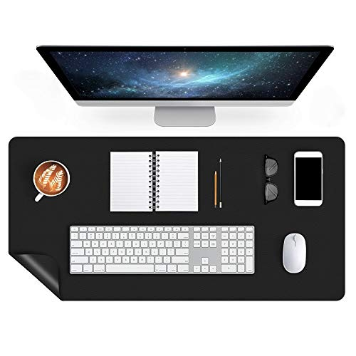 Large Office Desk Pad Mat 24 X 48 Inch Leather Desk Blotter Table Protector on Top of Desks Waterproof Desk Writing Cover Mousepad for Laptop Computer Gaming Keyboard Dual-Sided Desk Accessories Black