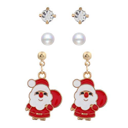 Forniture per Feste in Costume,Moda europea e americana guanti uomo vecchio fiocco di neve alce orecchini di perle @ Babbo Natale