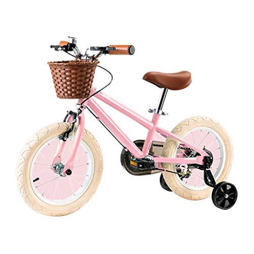 hanzeni Bicicleta para Niños Bicicleta para Niños Estilo Libre De 14 Pulgadas con Ruedas De Entrenamiento Desmontables Y Cuadro De Acero De Alto Carbono Triángulo, Clásico