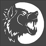 Stencil Wolf Werewolf Moon, Plastic Reusable