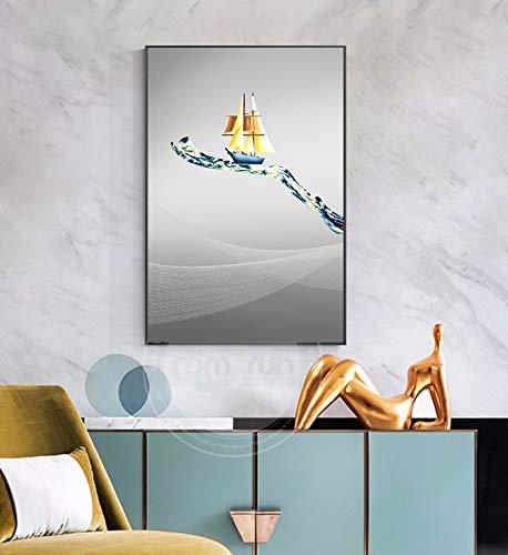 Hengdeqiangk Moderne Minimaliste Sailing Verre Verre Verre Toile Peintures murales Photos de l'art pour Salon Décoration de la Maison (sans Cadre) Hengdeqiangk