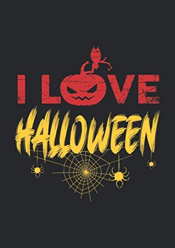 A4 Notizbuch kariert mit Softcover Design: I love Halloween Kürbis Spinnen Geister Kostüm Feier: 120 karierte DIN A4 Seiten