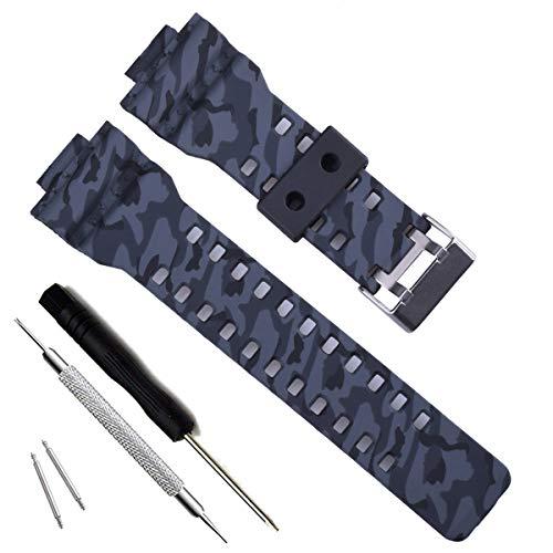 Correa de repuesto de resina natural para reloj Casio G-Shock GD120/GA-100/GA-110/GA-100C (Camouflage-Grey)