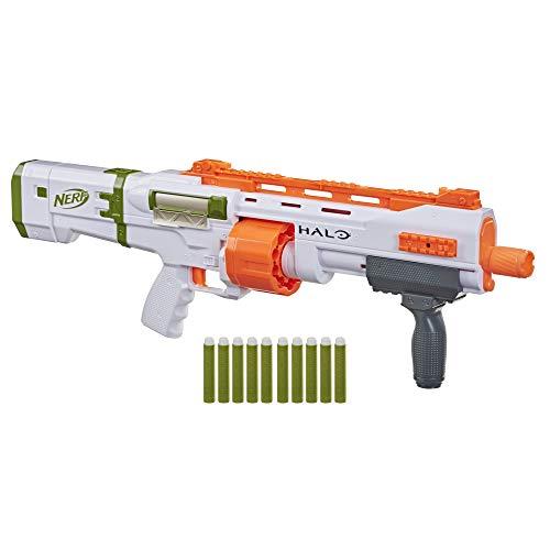 NERF Halo Bulldog SG Dart Blaster -- Pump-Action, Rotating 10-Dart Drum, Tactical Rails, 10 Official Elite Darts, Skin Unlock Code