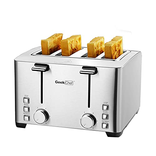 Geek Chef 4 Slice toaster, 4 Extra Wide Slots, Best Rated Prime Retro Bagel Toaster with 6 Bread Shade Settings, Defrost,Bagel,Cancel Function, Removable Crumb Tray, Stainless Steel Toaster, 1500W (Renewed)