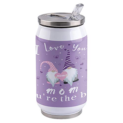 10 oz Travel Mug Vacuum Insulated Stainless Steel Coffee Tumbler Cup with Lid & Straw for Coffee, Tea,Mother'S Day Gnome I Love You Mom Only The Best