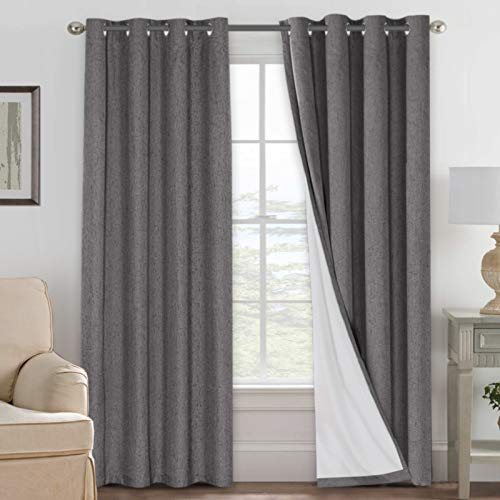 H.VERSAILTEX Linen Blackout Curtains 84 Inches Long 100% Absolutely Blackout Thermal Insulated Textured Linen Look Curtain Draperies Anti-Rust Grommet, Energy Saving with White Liner, 2 Panels, Grey