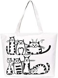 Gimax Shoulder Bags - Women Canvas Casual Handbag Cartoon Cat Printed Shoulder Bag Female Large Capacity Women Canvas Tote Shopping Handbags - (Color: A White, Size: Big Bag)