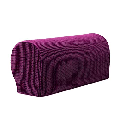 Bverionant Armrest Covers, Thickened Cotton Sofa Chair Arm Caps, Armchair Couch Arm Rest Cover Stretch, Anti-Slip Simple Solid Color Sofa Arm Cover 2 Pieces Purple