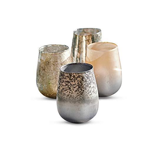 Loberon Windlicht 4er Set Maury, Glas, H/Ø ca. 15/12 cm, bunt