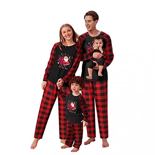 Alueeu Pijamas de Navidad Conjunto de Vacaciones para la Familia Pantalon y Top con Estampado Camisón Casual Homewear Otoño Invierno Pijama de Año Nnuevo