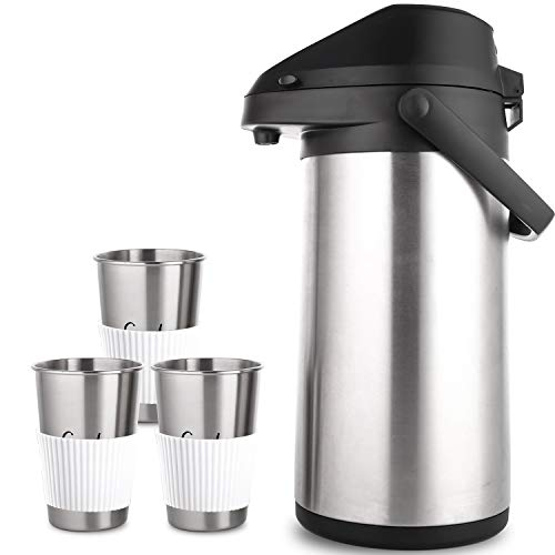 PARACITY Thermal Coffee Carafe with 3 Cups 100 oz Stainless Steel Pump Coffee Server Dispenser Double Walled Vacuum Insulated Airpot Water Pot 24 Hour Heat Retention for Keeping Hot