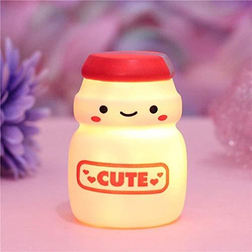 Lámpara de Noche Creativa, Linda Leche, té, Yogur, luz de Noche en Forma de Botella, lámpara de Noche portátil para niños pequeños para niñas, decoración del hogar, 1 Pieza (Yogurt Bottle-B)