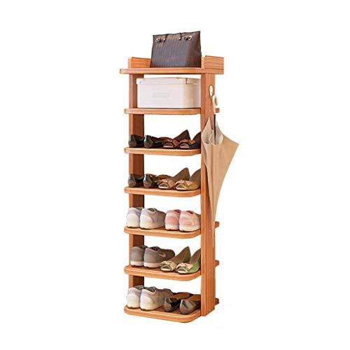 HLL Mini zapatero ahorra espacio Estantes de almacenamiento de tamaño pequeño de zapatos de esquina de pared de gabinete de zapatos de madera de varias capas