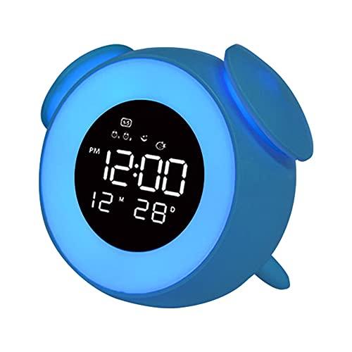 Cmstop Reloj Digital LED, luz de Despertador, Reloj Despertador, lámpara de Mesa con música, Modo de Puesta de Sol, luz Nocturna para la decoración del Dormitorio de los niños, Escritorio