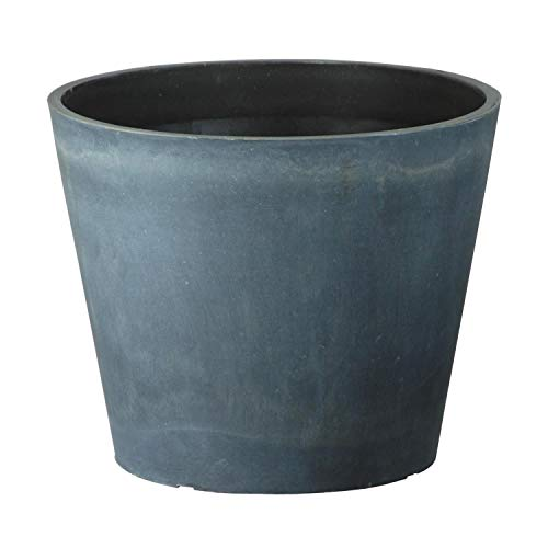 Masonry Concrete Style Round Plastic Planter, Single Pot - Suitable for Indoor or Outdoor Use - 33cm (H) x 41cm (Dia)