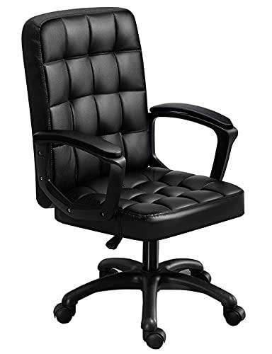 Silla de trabajo económica moderna Silla de escritorio ajustable de cuero cosido Asiento suave con silla giratoria de 360 °, silla de oficina para mujer para mujeres adultos, niñas   Código de produ