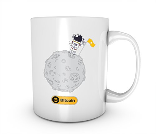 Moon Astronaut Artwork Bitcoin Cryptocurrency Blockchain Crypto Btc Keramik Tasse Kaffee Tee Becher Mug