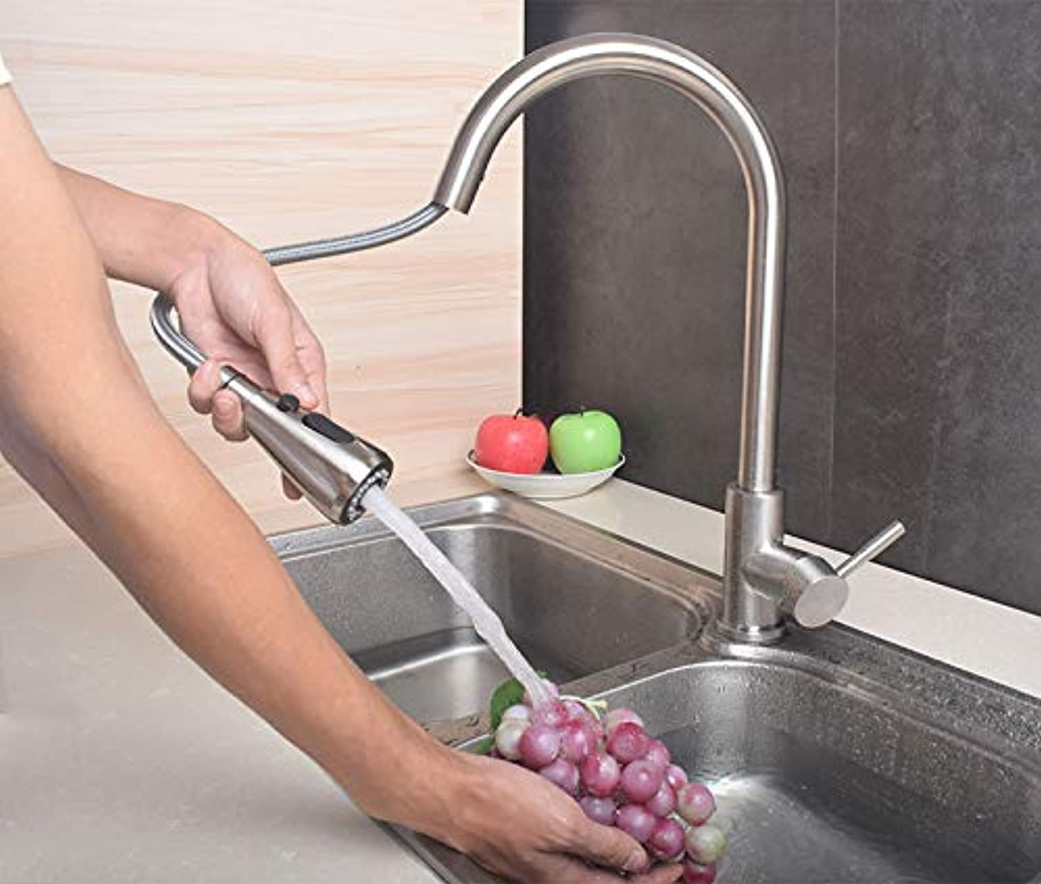 JWLT faucets Germany universal lead-free 304 stainless steel pull-out kitchen faucet wire drawing hot and cold washing vegetable pots head shower,B pull the faucet, one key to stop the water supply to the inlet pipe.
