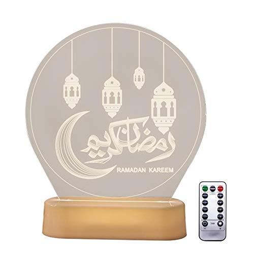 3D Mubarak LED Night Light Ramadan LED Mubarak Lights Decoración Musulmán Ramadan Table Light Ramadán Decoración Lámpara Festival Colgante 3D Disco Light Castle Moon Muebles Decoración Para Festivales