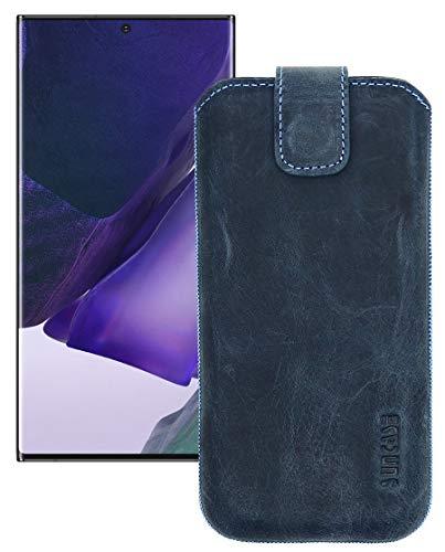 Suncase Etui Tasche kompatibel mit Samsung Galaxy Note 20 Ultra Hülle mit ZUSÄTZLICHER Hülle/Schale/Bumper Lasche mit Rückzugfunktion Handytasche Ledertasche Schutzhülle in Pebble-Blue