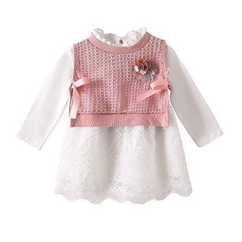 LZH Baby Mädchen Kleid Rosa Baumwolle Baby Kleidung 2pcs Strickrock Herbst und Winter Prinzessin Kleid