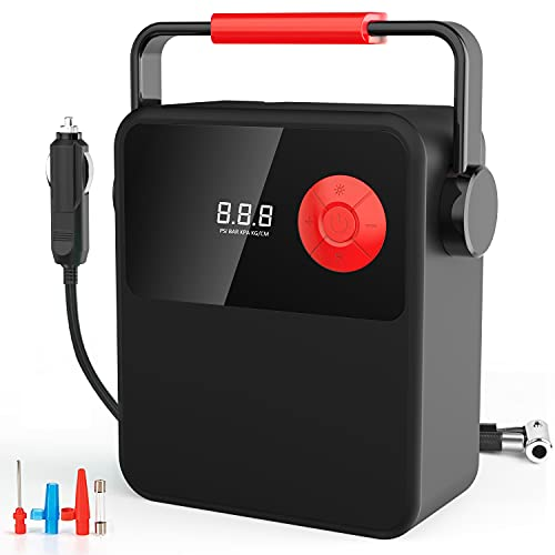 Tire Inflator Air Compressor, DC 12V Electric Tire Inflator with Digital Display, Portable Tire Pump with Portable Handle and LED Lighting, Air Pump for Car Tire, Bicycle and Other Inflatables
