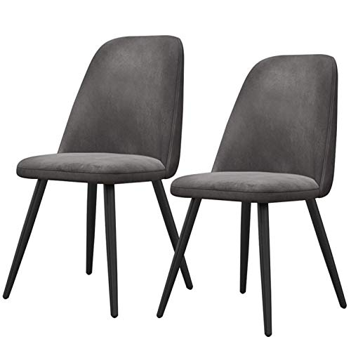 2pcs Dining Chairs Modern Tulip Style Upholstered Seat Sturdy Steel Legs Ergonomic Office Chair Thick Fabric Home Kitchen Furniture (Color : Gray)