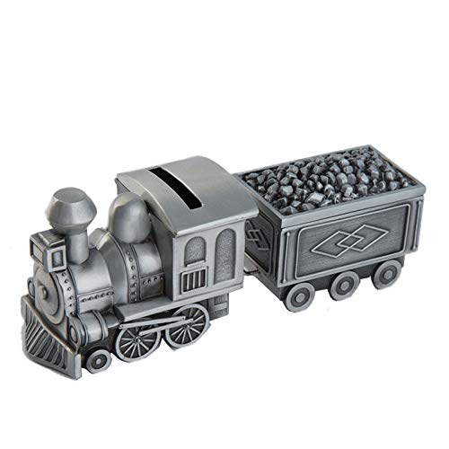 MYYINGBIN Caja De Ahorro De Monedas De Metal Plateado con Tren Retro, Cumpleaños para Niños