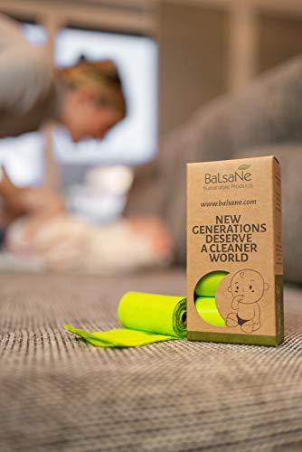 Balsane Sustainable Products Bolsas para pañales orgánicas – 120 bolsas resistentes a desgarros de alta calidad – 100 % compostables y biodegradables