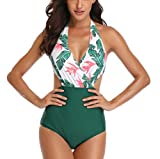Ajpguot Verano Mujer Sexy V-Cuello Trajes de Una Pieza Impresión Traje de Baño Push Up Bikinis Monokinis Triángulo Swimwear Tankinis Talla Grande (XL, 19010 Verde)