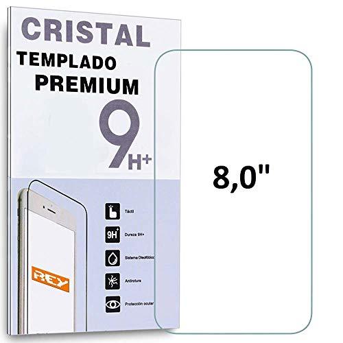REY Protector de Pantalla para Universal 8', 8 Pulgadas, Cristal Vidrio Templado Premium