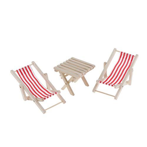Perfeclan 3 Stücke 1/6 Puppenstube Garten Möbel Miniatur Holzmöbel gestreiften Liegestuhl Strandstuhl Klappstuhl & Tisch - Grün