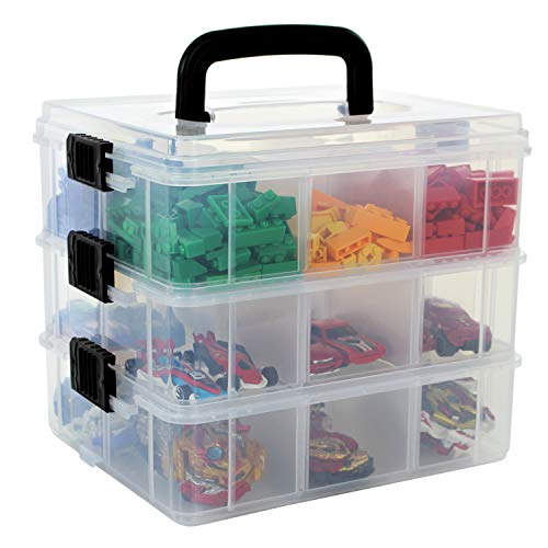 Bins & Things Toy Organizer with 40 Adjustable Compartments Compatible with LOL Surprise Dolls, LPS, Shopkins, Calico Critters and Lego (Clear White)