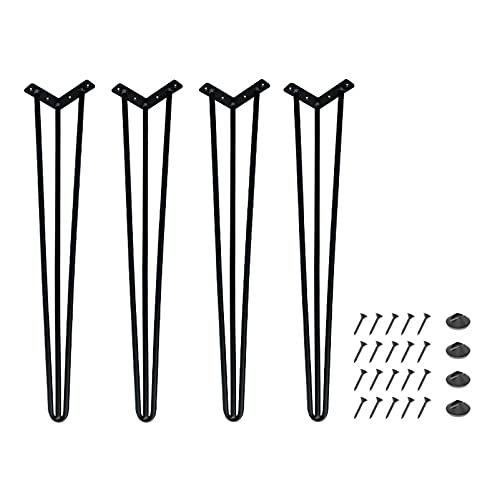 LWZ Patas de Mesa de Centro de Horquilla de Metal, Juego de 4, Patas de Muebles de Varillas sólidas para Banco, Mesa de Comedor, Escritorio, Soporte Alto, Negro