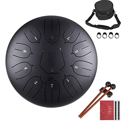 Ecisi Lotus Flower Steel Tongue Drum, 11 Notas Instrumento de Tambor de Acero de percusión de Tambor panorámico de 10 Pulgadas con mazos, Soporte de mazo, Puntas de Dedo y Bolsa de Viaje
