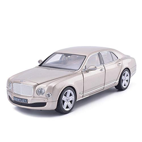 DNSJB Model Car, Kids Car Toys for Boys Girls 1/18 Scale Bentley Mulsanne Alloy Model Car Die Cast Miniature Gifts Indoor Outdoor Games (Color : Champagne Gold)