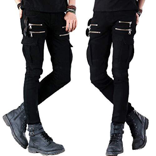 N/ A Herrenhosen Jeans High Street Motorrad Stretch Plissee Reißverschluss Tasche Einfarbige Jeans