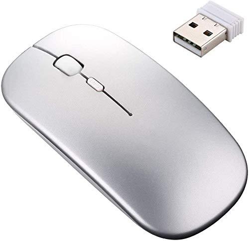 LEIL Mouse inalámbrico 2.4 G, 5 Botones, Recargable, con nanoreceptor USB, 3 Niveles de dpi Ajustables, Luces LED Coloridas para Laptop, computadora, Color Negro (Grey)