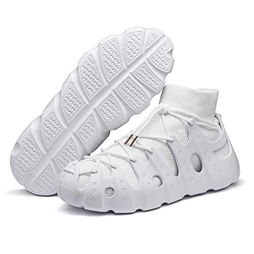 VcnKoso Scarpe Corsa Barefoot Sportive Scarpe da Trail Running Casual Sneakers da Camminata Outdoor Passeggio Sandal Indoor Scarpe da Traspiranti Ginnastica Donna Uomo Bianco 44
