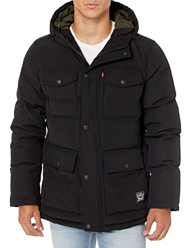 Levi's Men's Water Resistant Arctic Cloth Midlength Quilted Hoody Parka (Regular and Big & Tall Sizes), Black, Medium