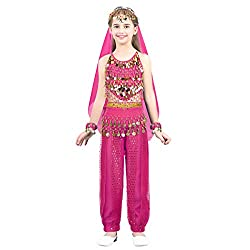 Rose Red Sequins Belly Dance Dress Outfits