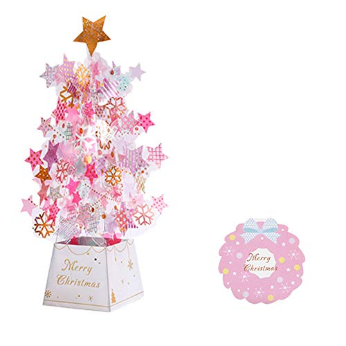 Karrychen 3D Pop-up Christmas Tree Castle Greeting Cards Birthday Postcards Invitations - 04#