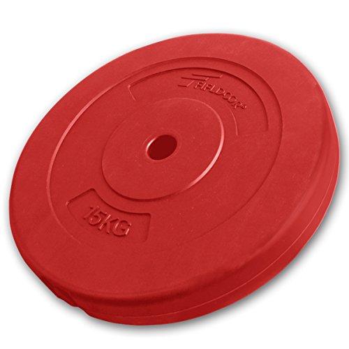 FIELDOOR ダンベルプレート レッド 15kg (FIELDOOR セメントダンベル / バーベル 専用オプション)